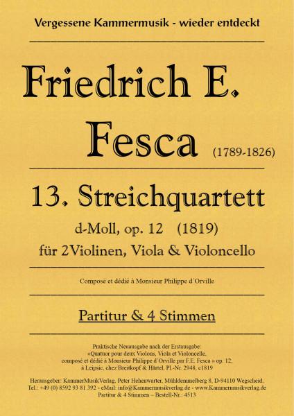 Fesca, Friedrich Ernst – Streichquartett Nr. 13, d-Moll, op. 12