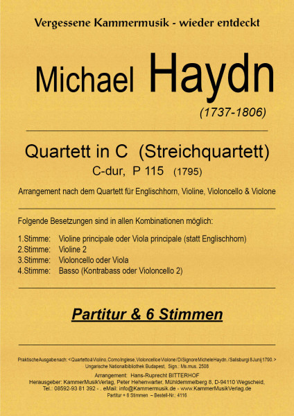 Haydn, Michael – Streichquartett mit Kontrabass, C-dur, P 115