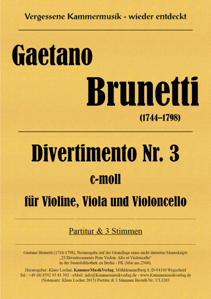 Brunetti, Gaetano – Divertimento Nr. 3 c-moll