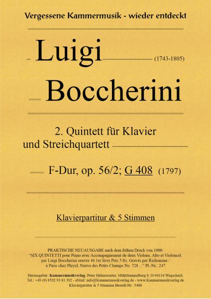 Boccherini, Luigi – 2. Quintett für Klavier und Streichquartett, F-Dur, op. 56/2; G 408