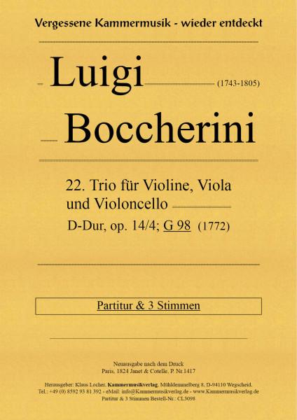 Boccherini, Luigi – 22. Trio für Violine, Viola und Violoncello