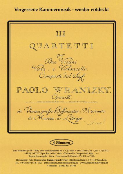 Wranitzki, Paul – Drei Streichquartette op. 2, Nr. 1-3