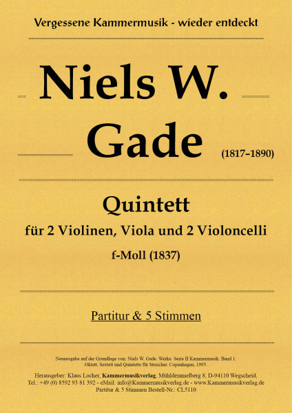 Gade, Niels W. – Streichquintett