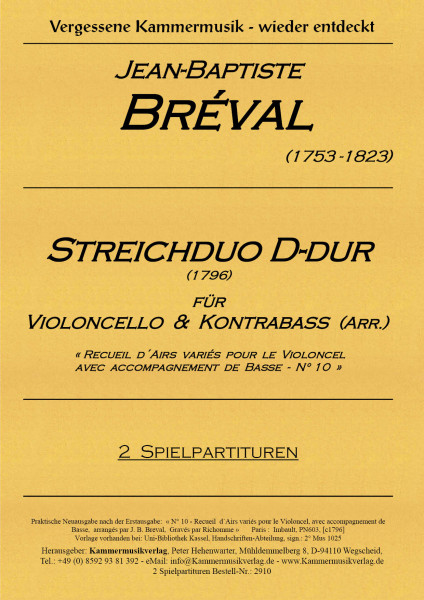 Breval > Bréval, Jean Baptiste – Cello-Basso-Duo