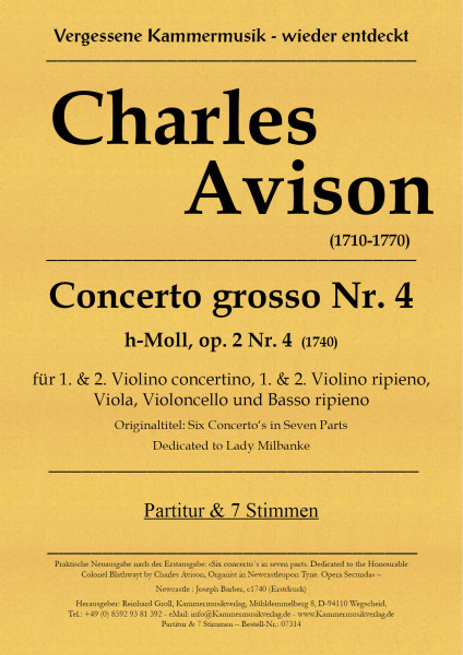 Avison, Charles – Concerto grosso Nr. 4, h-Moll, op. 2-4