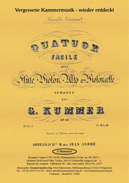 Kummer, Caspar – Flötenquartett, D-Dur, op. 89