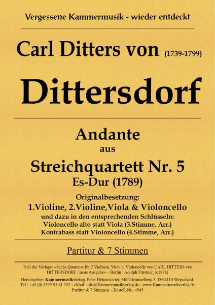 Dittersdorf, Carl Ditters von – Andante aus dem 2. Streichquartett