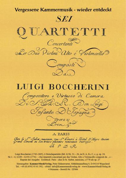 Boccherini, Luigi – 6 Streichquartette (Bd. 6) Nr. 31—36