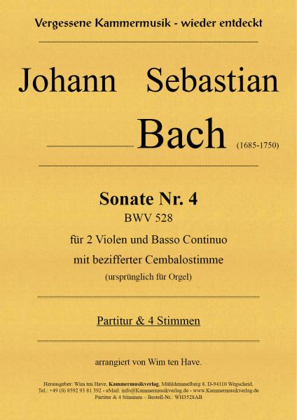 Bach, Johann Sebastian – Sonate Nr. 4 für 2 Va & BC mit bezifferter Cembalostimme