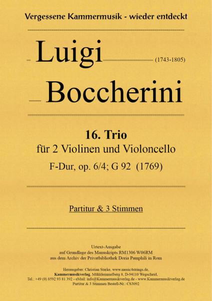 Boccherini, Luigi – 16. Trio für 2 Violinen und Violoncello, F-Dur, op. 6, Nr. 4, G 92