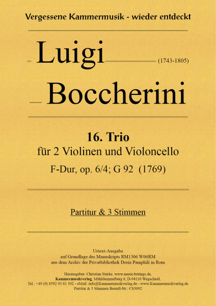 Boccherini, Luigi – 16. Trio für 2 Violinen und Violoncello