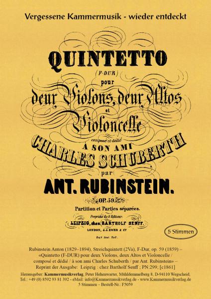 Rubinstein, Anton – Streichquintett (2Va), F-Dur, op. 59
