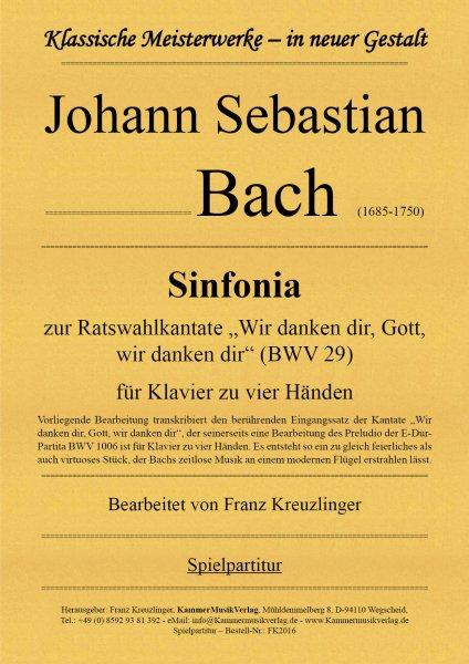 Bach, Johann Sebastian – Sinfonia für Klavier zu vier Händen