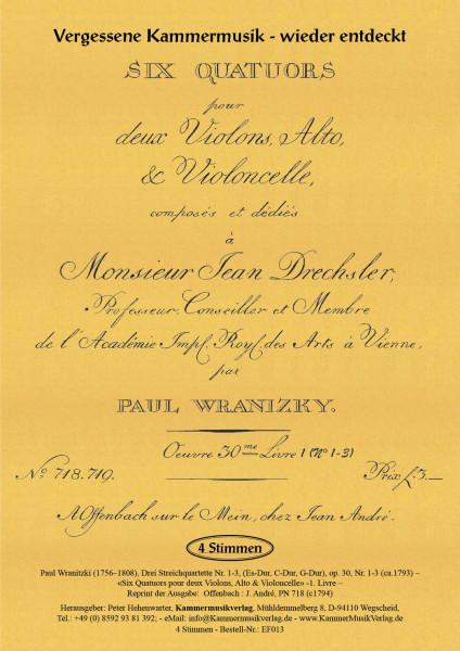 Wranitzki, Paul – Drei Streichquartette (Es-Dur, C-Dur, G-Dur), op. 30, Nr. 1-3