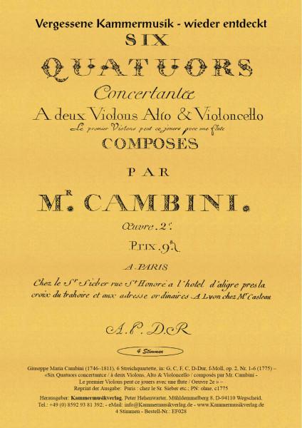 Cambini, Giuseppe Maria – 6 Streichquartette, in: G, C, F, C, D-Dur, f-Moll, op. 2, Nr. 1-6
