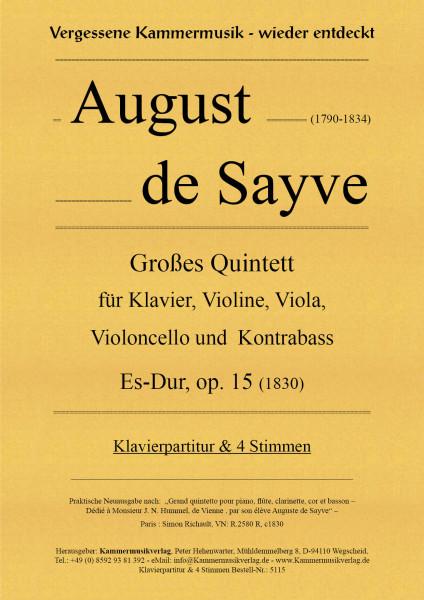 Sayve, August de – Großes Quintett für Klavier und Streicher
