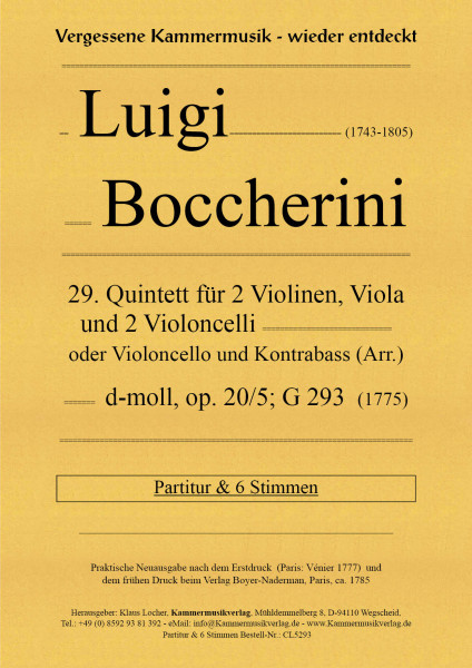 Boccherini, Luigi – 29. Quintett für 2 Violinen, Viola und 2 Violoncelli