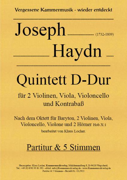 Haydn, Joseph – Quintett für 2 Violinen, Viola, Violoncello & Kontrabaß, D-Dur, Hob.X: 1