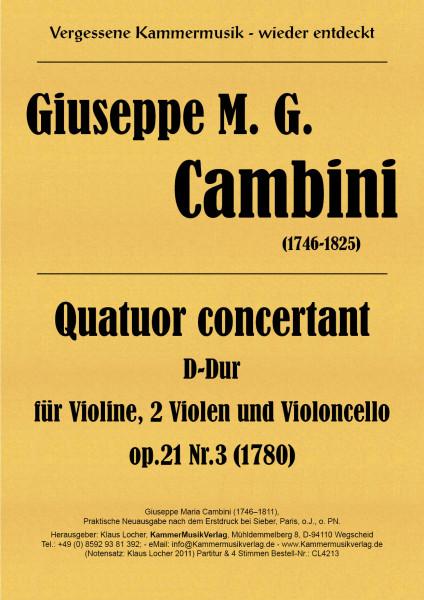 Cambini, Giuseppe Maria – Streichquartett (2 Va) Nr. 3, D-Dur, op. 21-3