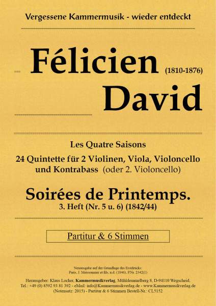 David, Félicien – Soirées du Printemps. 3. Heft (Nr. 5 u. 6)