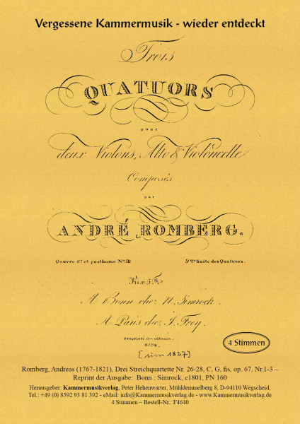 Romberg, Andreas – Drei Streichquartette Nr. 26-28, C, G, fis, op. 67, Nr.1-3