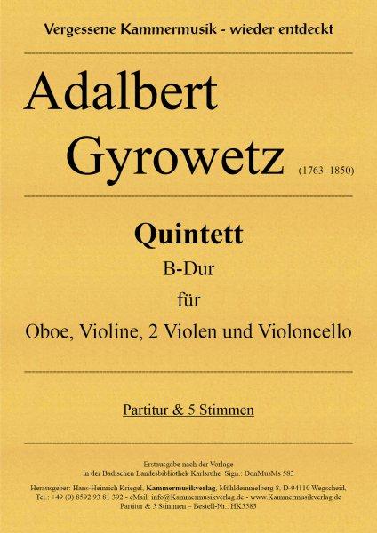 Gyrowetz (Jirovec) Adalbert – Quintett B-Dur