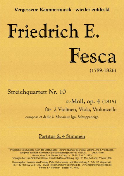 Fesca, Friedrich Ernst – Streichquartett Nr. 10, c-Moll, op. 4