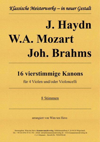 Haydn, Mozart, Brahms – 16 vierstimmige Kanons für 4 Violen und/oder Violoncelli