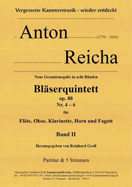 Reicha, Anton – 3 Bläserquintette Nr. 4-6, op. 88