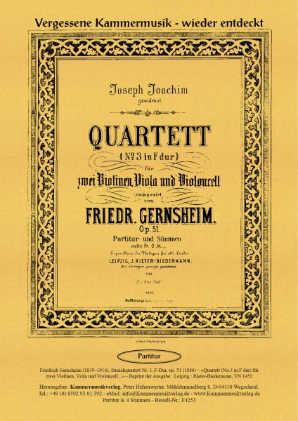 Gernsheim, Friedrich – Streichquartett Nr. 3, F-Dur, op. 51
