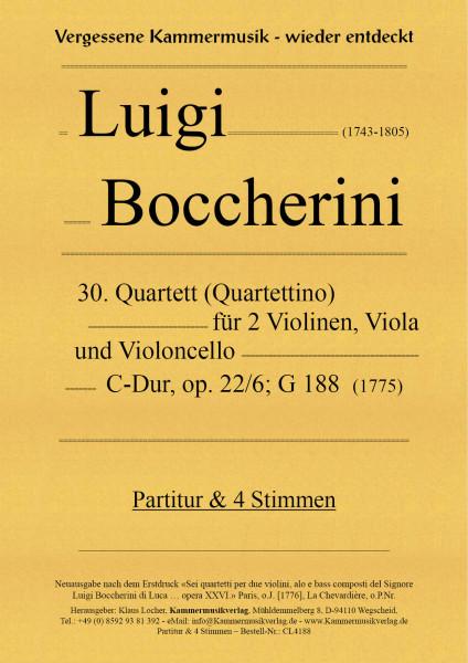 Boccherini, Luigi – 30. Quartett für 2 Violinen, Viola und Violoncello, C-Dur, op. 22-6, G 188