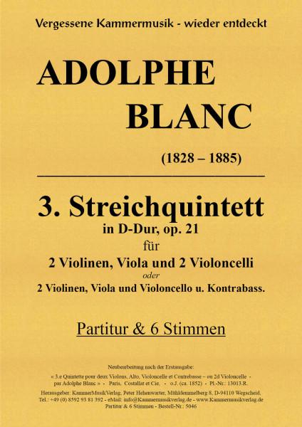 Blanc, Adolphe – Streichquintett m.Kb Nr. 3, D-Dur, op. 21