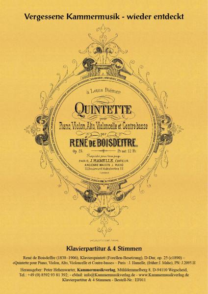 Boisdeffre, René de – Klavierquintett (Forellen-Besetzung), D-Dur