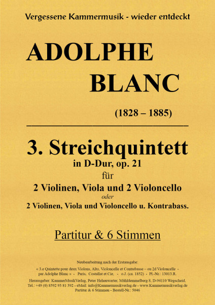 Blanc, Adolphe – Streichquintett m.Kb Nr. 3