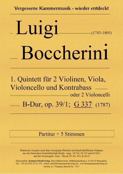 Boccherini, Luigi – 1. Quintett für 2 Violinen, Viola, Violoncello und Kb, B-Dur, op. 39-1, G 337