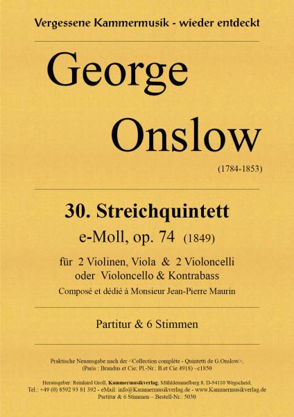 Onslow, George – Streichquintett Nr. 30, e-Moll, op. 74