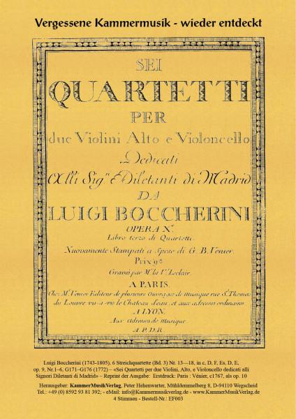 Boccherini, Luigi – 6 Streichquartette (Bd. 3) Nr. 13—18, op. 9, Nr.1–6, G 171–G 176