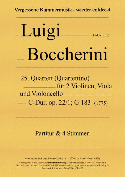 Boccherini, Luigi – 25. Quartett für 2 Violinen, Viola und Violoncello, C-Dur, op. 22-1, G 183
