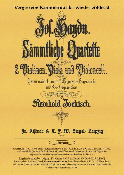 Haydn, Joseph – Sechs Streichquartette, Nr. 1-6, B, Es, D, G, B, C, op. 1, Hob.:III 1-6