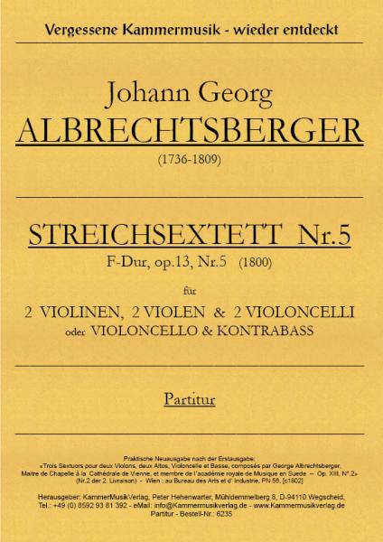 Albrechtsberger, Johann Georg – Streichsextett Nr. 5, F-Dur, op. 13 Nr. 5