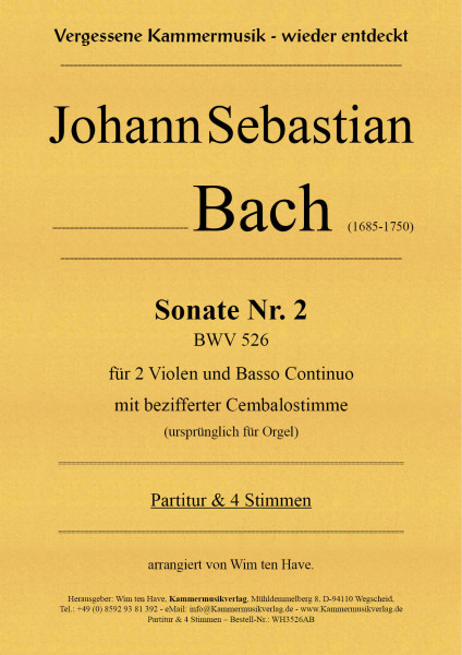 Bach, Johann Sebastian – Sonate Nr. 2 für 2 Va & BC mit bezifferter Cembalostimme