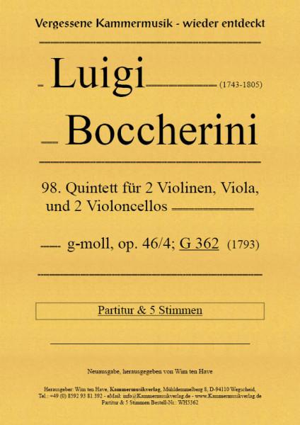 Boccherini, Luigi – 98. Quintett für 2 Violinen, Viola und 2 Violoncelli