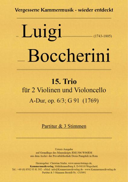 Boccherini, Luigi – 15. Trio für 2 Violinen und Violoncello, A-Dur, op. 6, Nr. 3, G 91