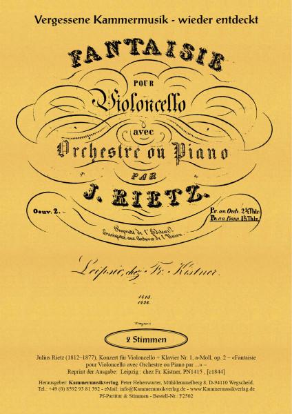 Rietz, Julius – Konzert für Violoncello & Klavier Nr. 1, a-Moll, op. 2