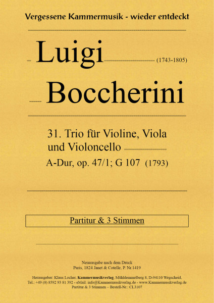 Boccherini, Luigi – 31. Trio für Violine, Viola und Violoncello, A-Dur, op. 47, Nr. 1, G 107