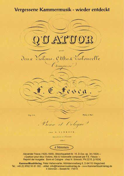 Fesca, Friedrich Ernst – Streichquartett Nr. 15, D-Dur, op. 34