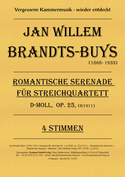 Brandts-Buys, Jan – Serenade für Streicher Nr. 1, g-Moll, op. 25
