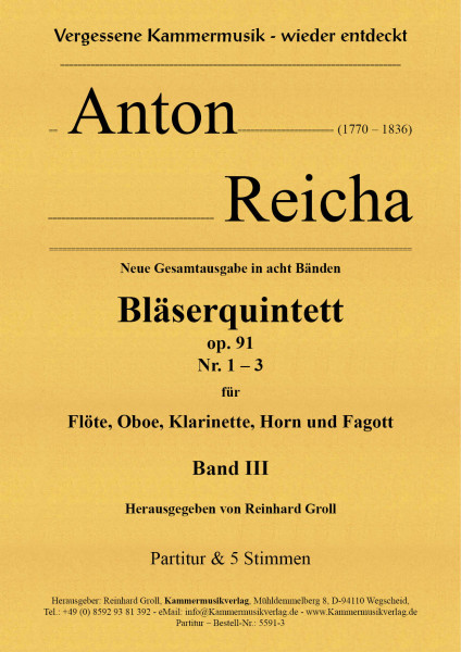 Reicha, Anton – 3 Bläserquintette Nr. 7-9, op. 91