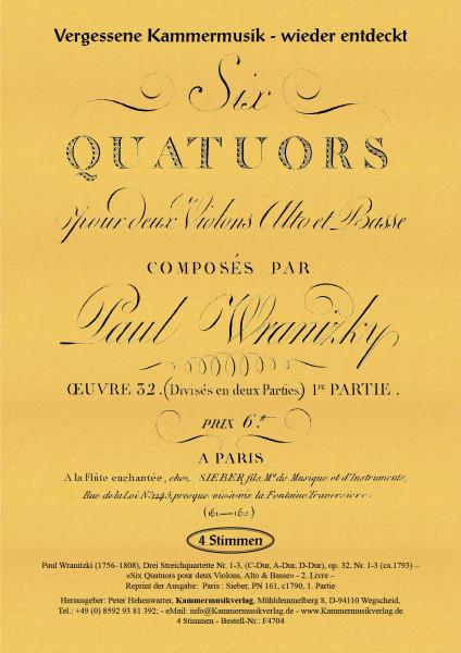 Wranitzki, Paul – Drei Streichquartette op. 32, Nr. 1-3, (C-Dur, A-Dur, D-Dur), op. 32, Nr. 1-3
