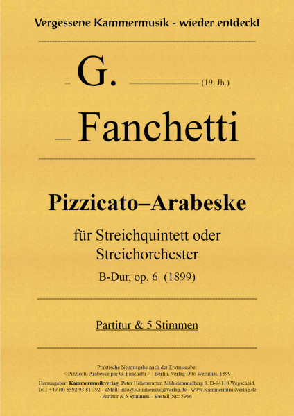 Fanchetti, G. – Pizzicato-Arabeske, B-Dur, op. 6